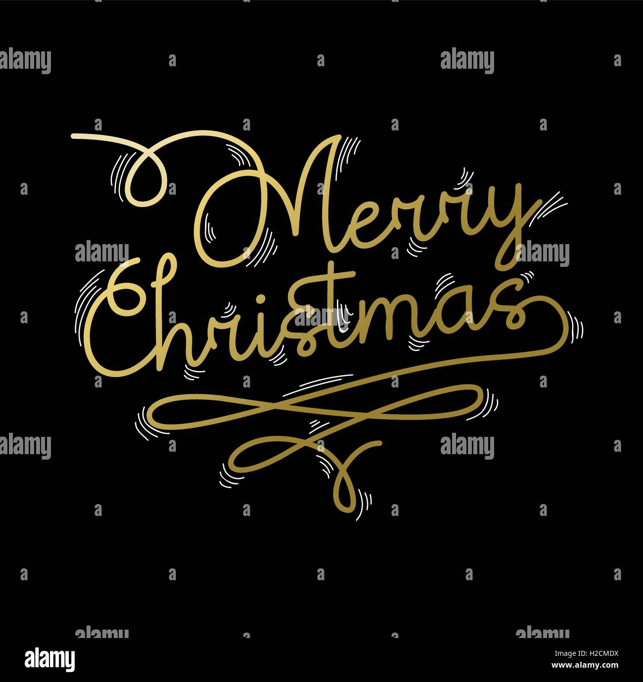 Merry christmas gold lettering design. Xmas text quote for poster or holiday greeting card. EPS10 vector. - Stock Image