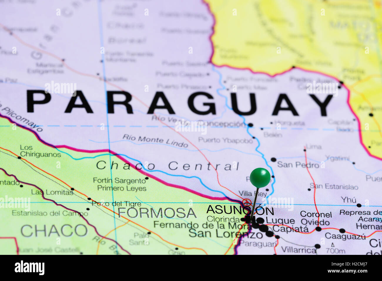 Asuncion pinned on a map of Paraguay Stock Photo: 121981503 - Alamy