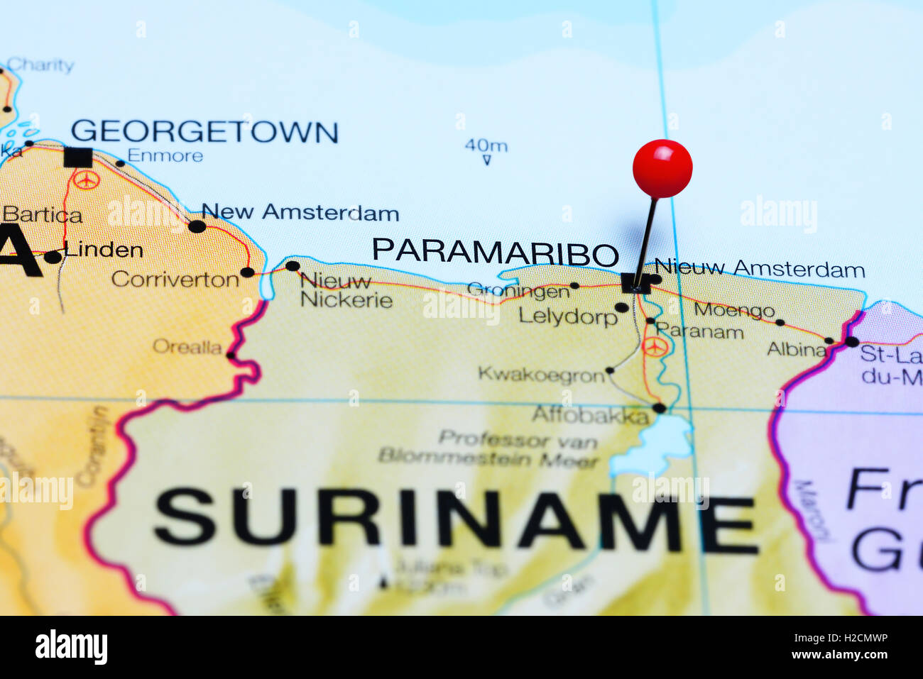 Paramaribo pinned on a map of Suriname - Stock Image