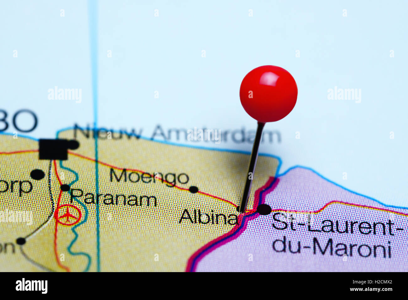 Albina pinned on a map of Suriname - Stock Image
