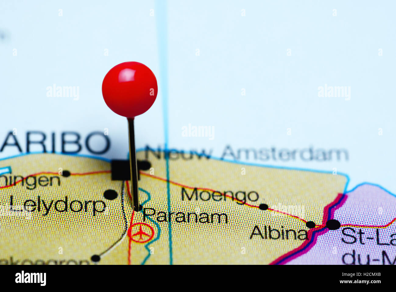 Paranam pinned on a map of Suriname - Stock Image