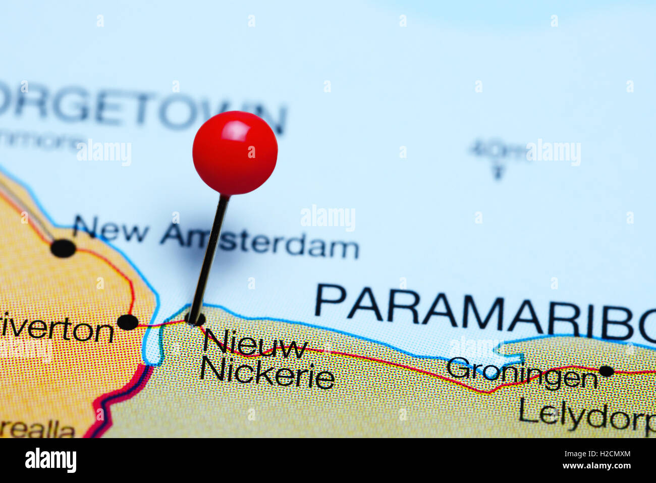 Nieuw Nickerie pinned on a map of Suriname - Stock Image