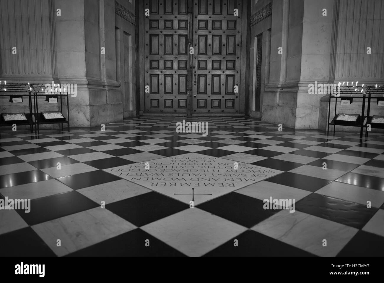 Wooden Doors Of St Pauls Cathedral And Square Floor Tiles In Stock