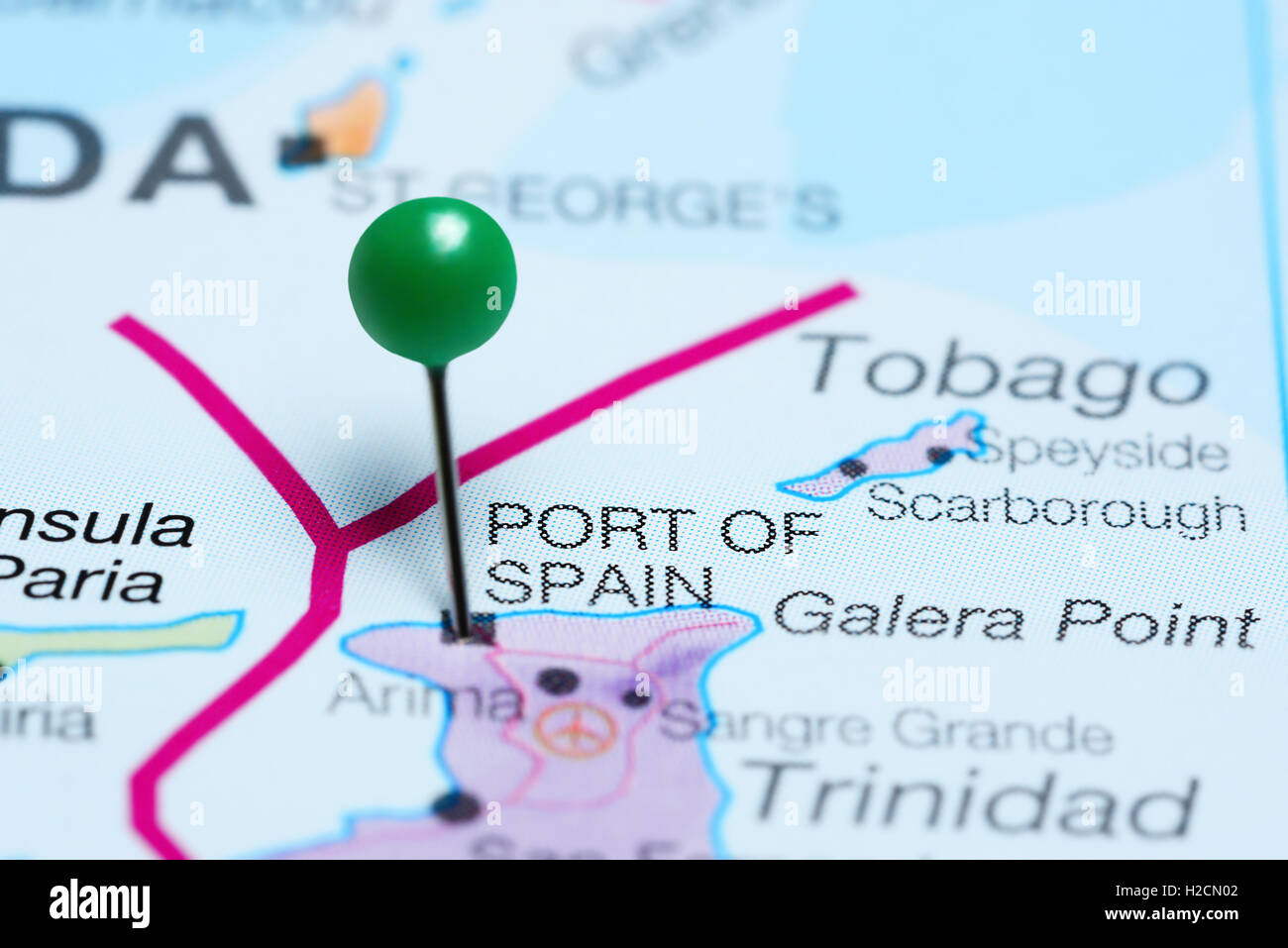 Picture of: Port Of Spain Pinned On A Map Of Trinidad And Tobago Stock Photo Alamy