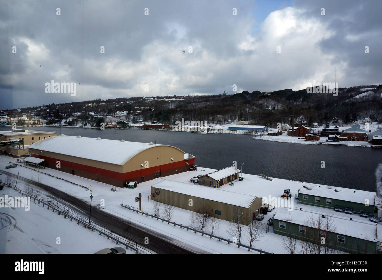 Winter Scene showing a view of Portage Lake in the Winter time - Stock Image
