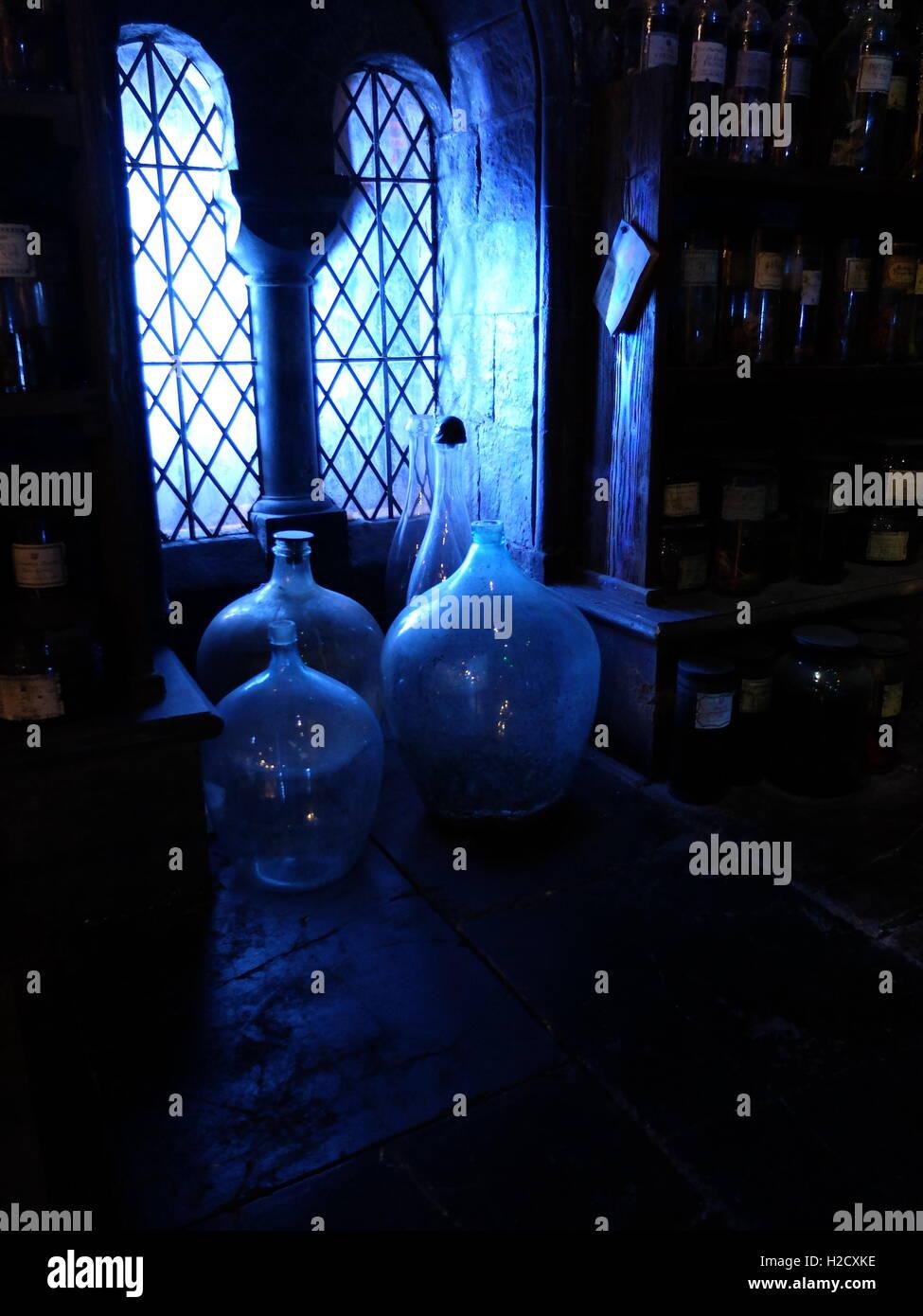 The Making of Harry Potter Warner Bros studio Tour, London. Potions bottles - Stock Image