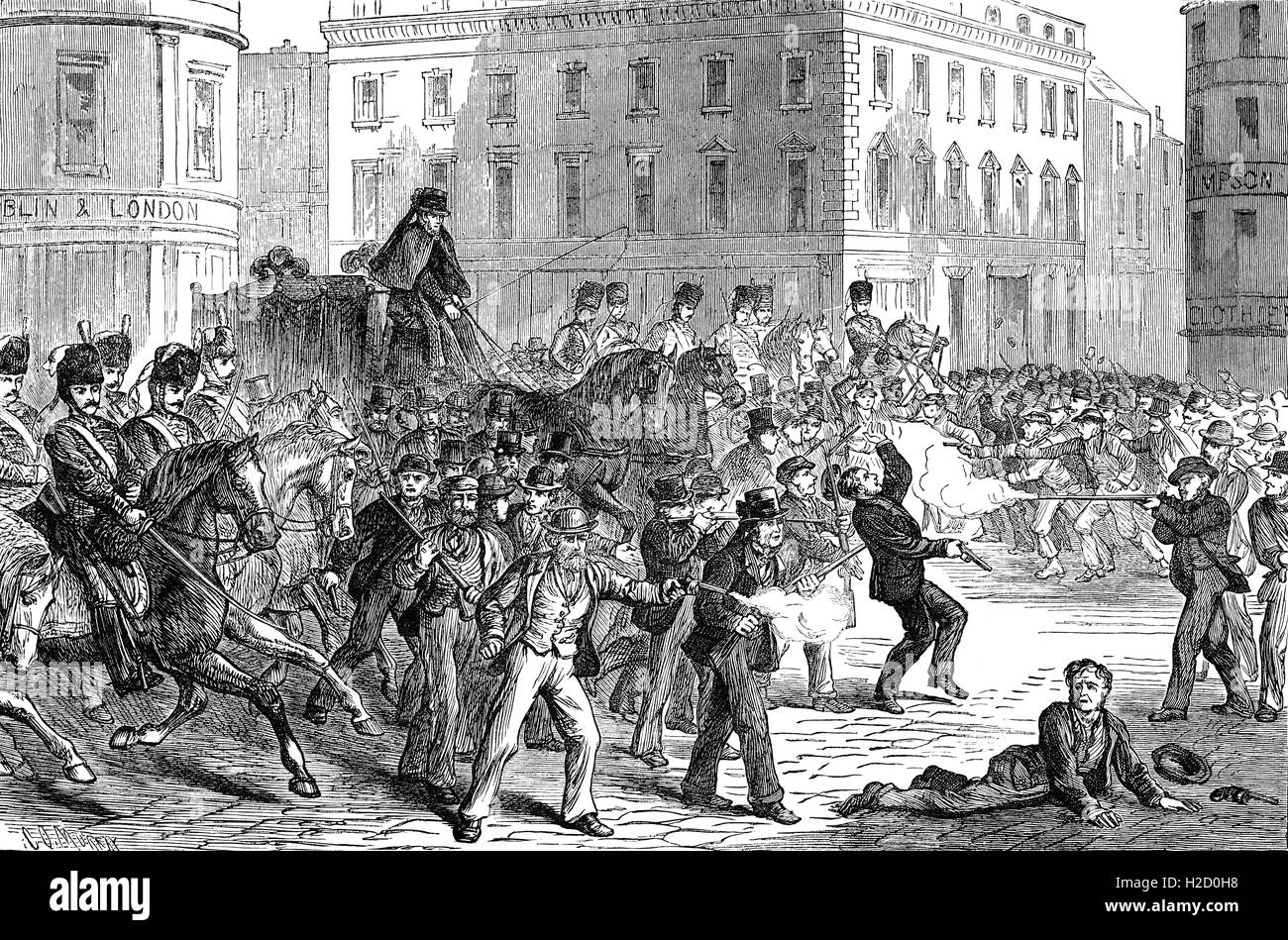 Following the Home Rule Bill's defeat, violence flared up again after the July 12th Orange parades provocatively - Stock Image