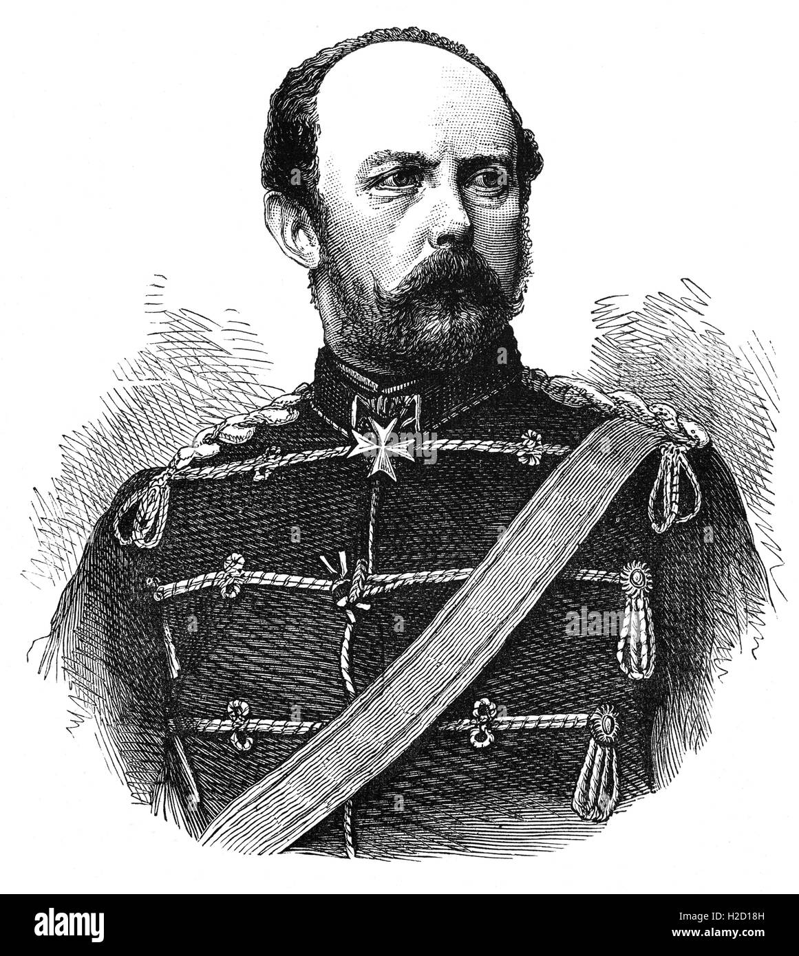 Prince Friedrich Carl Nicolaus (or Frederick Charles)  of Prussia (1828 – 1885) was the son of Prince Charles of - Stock Image