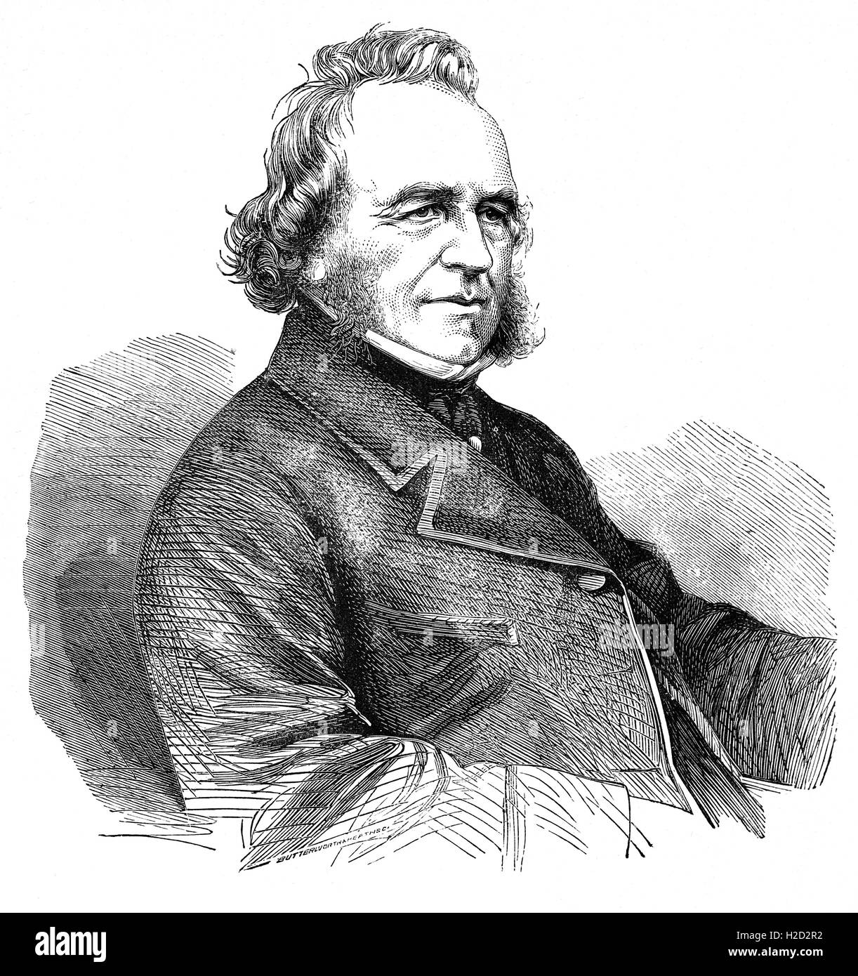 Sir Joseph Paxton (1803 – 1865) was an English gardener, architect and Member of Parliament, who designed the gardens - Stock Image