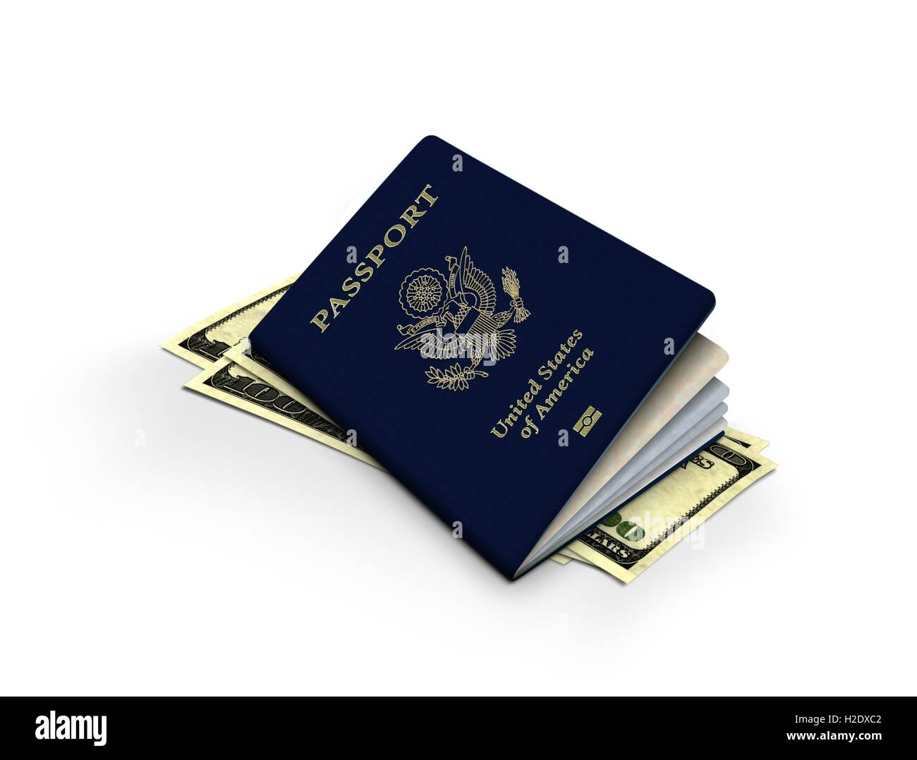 Passport and One Hundred Dollar Notes Stock Photo