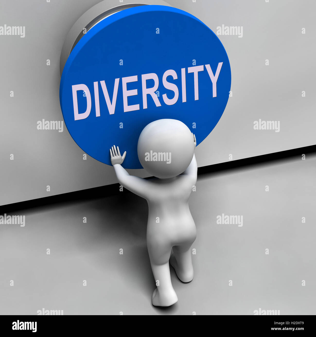 Diversity Button Means Variety Difference Or Multi-Cultural - Stock Image