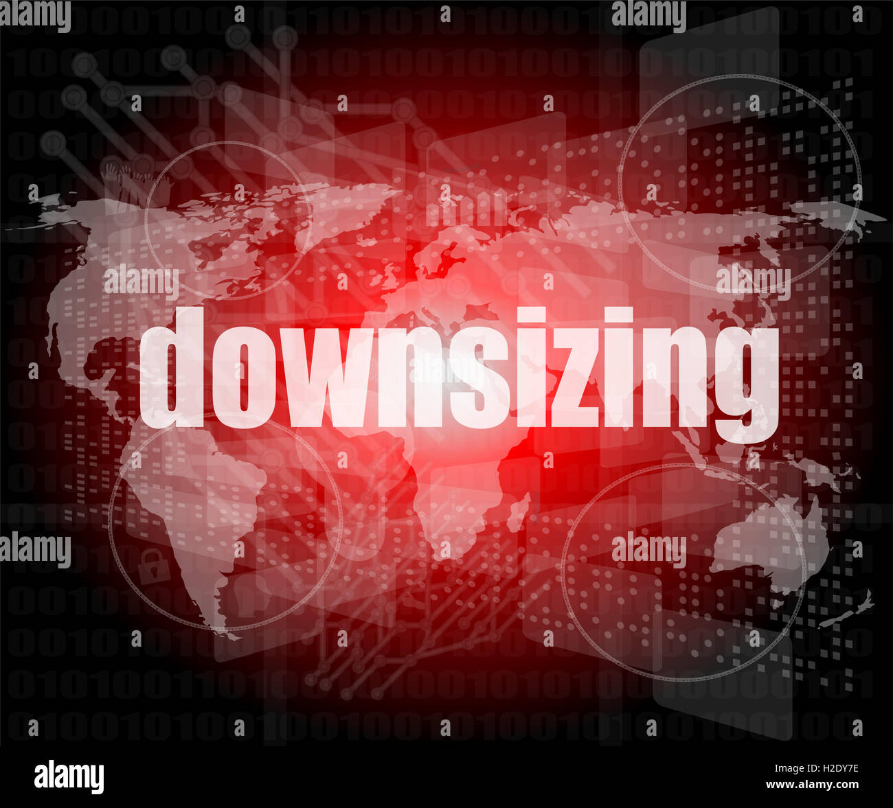 Business concept: words Downsizing on digital background - Stock Image