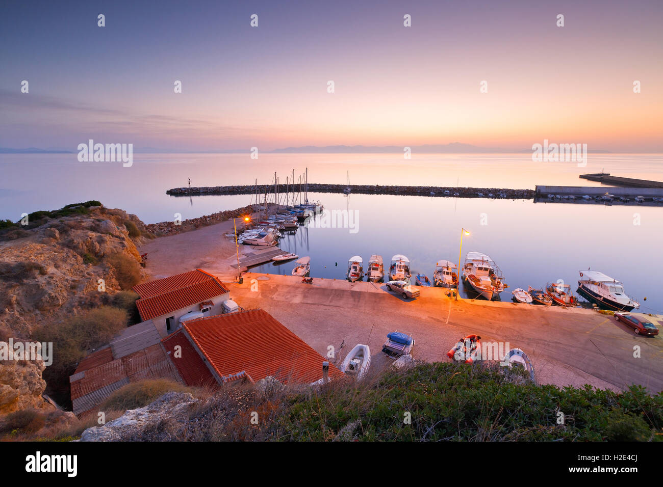 Fishing boats and sailing boats in the marina of Rafina in Athens. - Stock Image