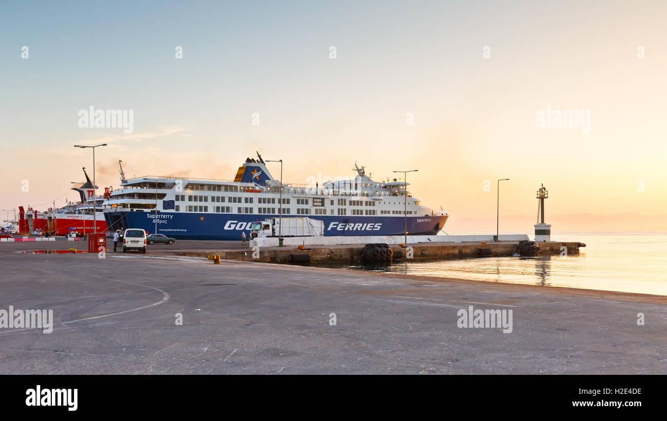 Ferries in passenger port of Rafina. - Stock Image