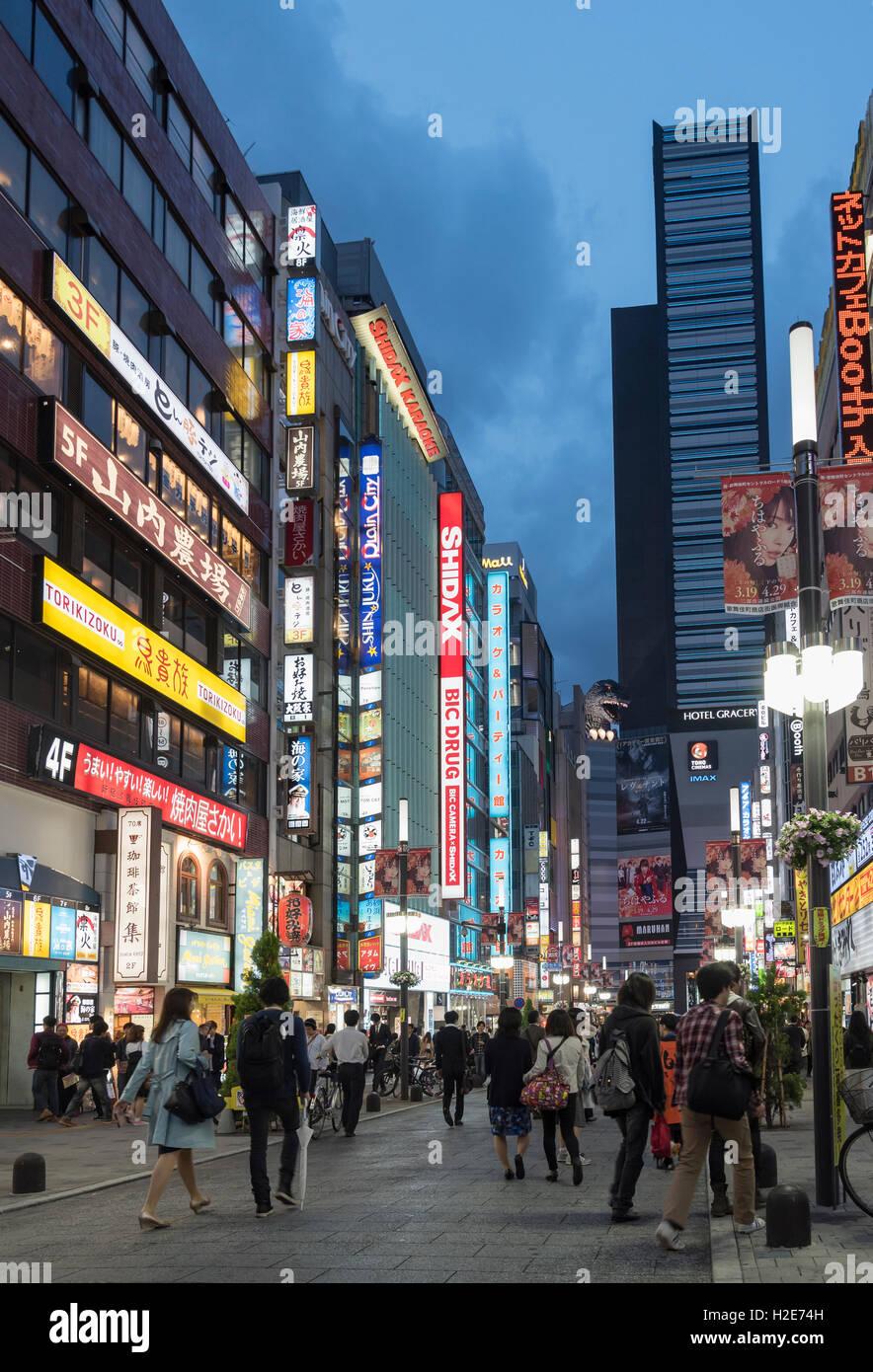 Street scene of Kabukicho, Shinjuku, Tokyo, Japan - Stock Image