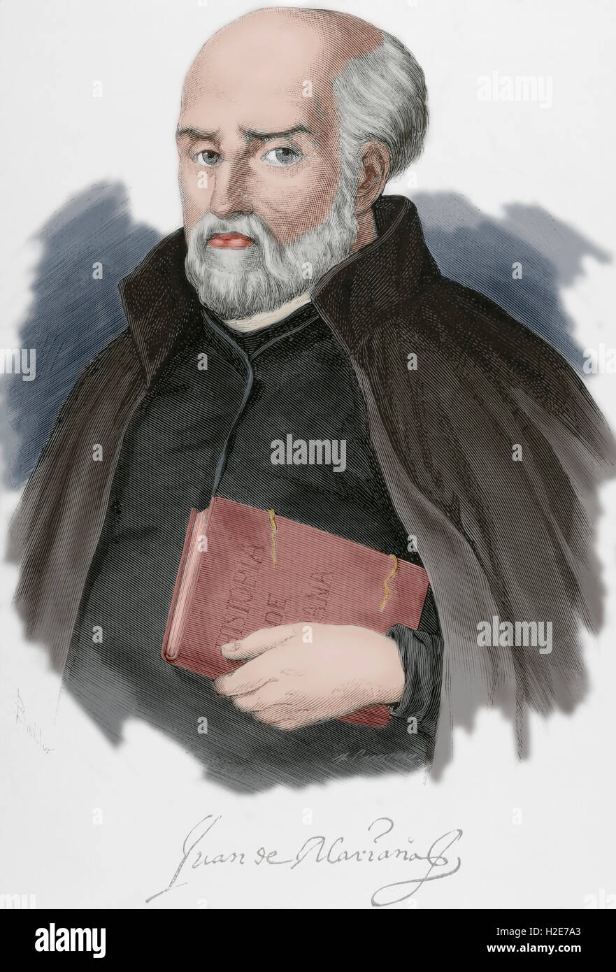 Juan de Mariana or Father Mariana (1536-1624). Spanish Jesuit priest, Scholastic, historian, and member of the Monarchomachs. - Stock Image