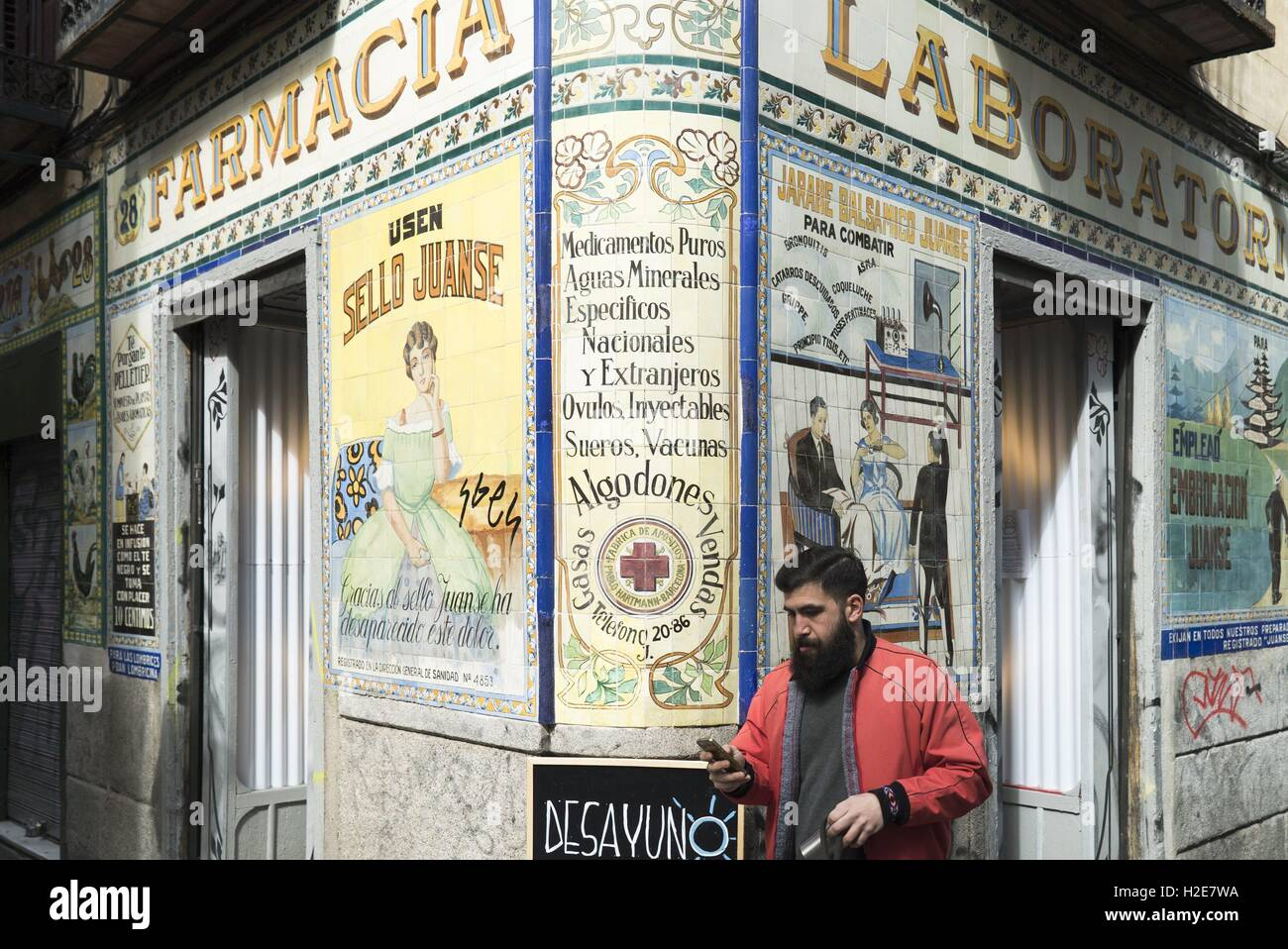 Bar decorated with traditional ceramic tiles (Azulejos) in the district Malasana in Madrid, 20.03.2016 | usage worldwide - Stock Image