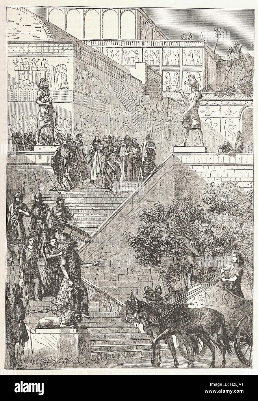 TIIE PALACE OF KOUYUNJIK, RESTORED - from 'Cassell's Illustrated Universal History' - 1882 - Stock Image