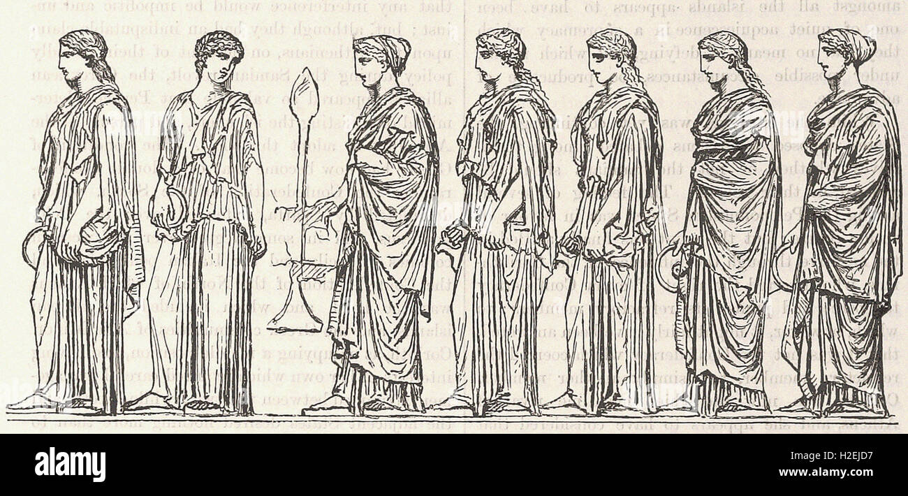 ATHENIAN WOMEN. (From the Frieze of the Parthenon.) - from 'Cassell's Illustrated Universal History' - Stock Image