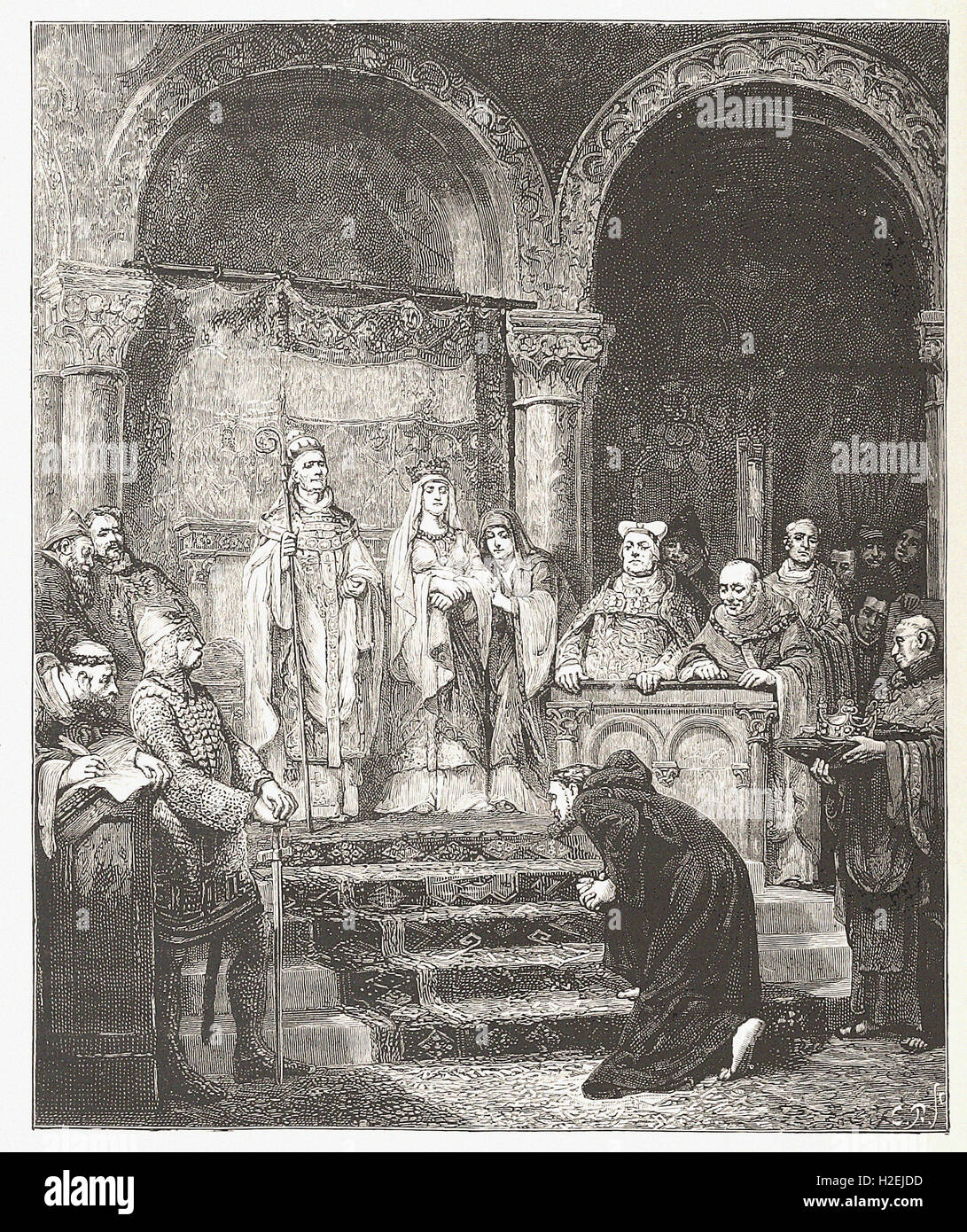 SUBMISSION OF HENRY IV AT CANOSSA  - from 'Cassell's Illustrated Universal History' - 1882 - Stock Image