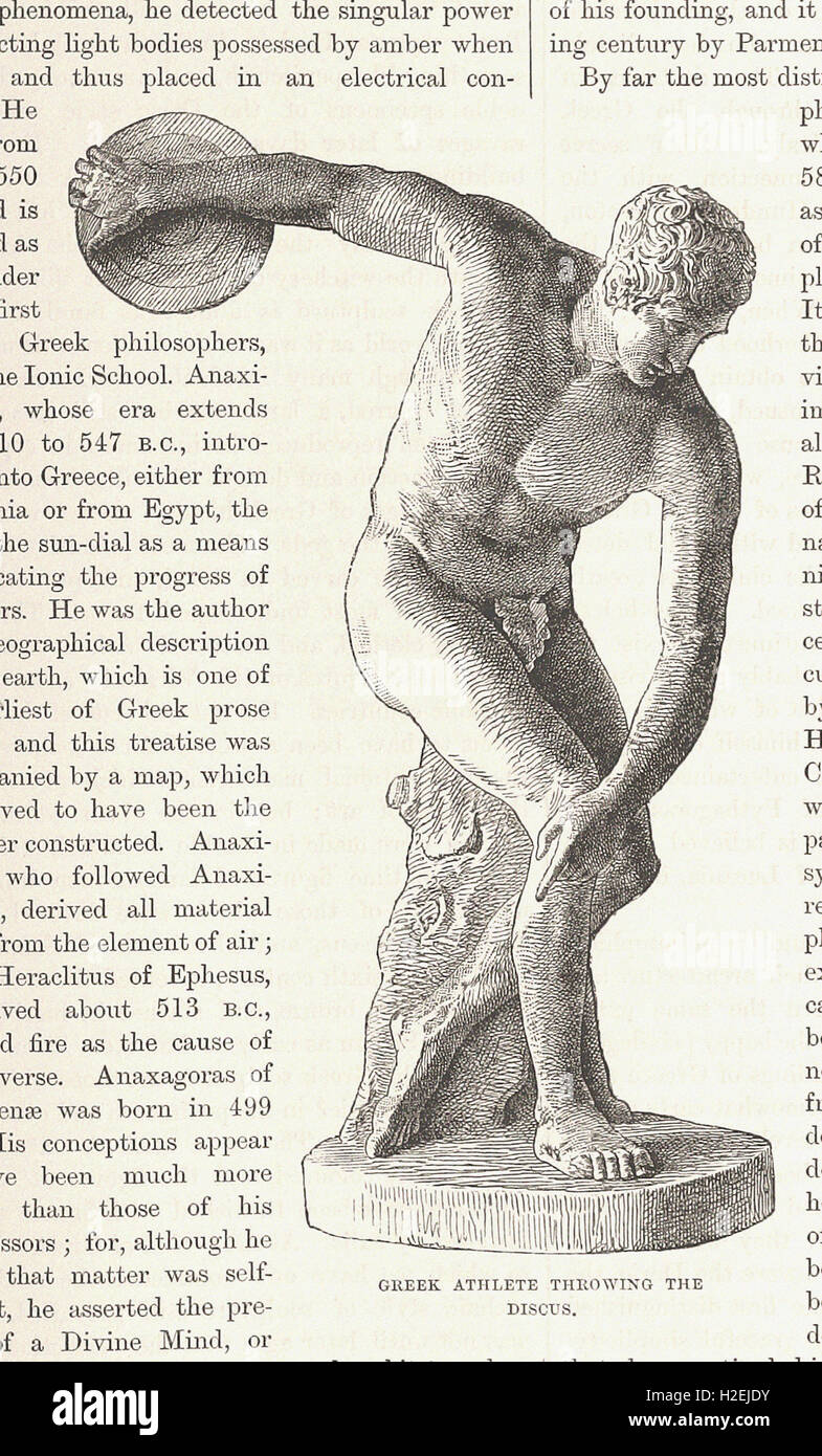 GREEK ATHLETE THROWING THE  DISCUS - from 'Cassell's Illustrated Universal History' - 1882 - Stock Image