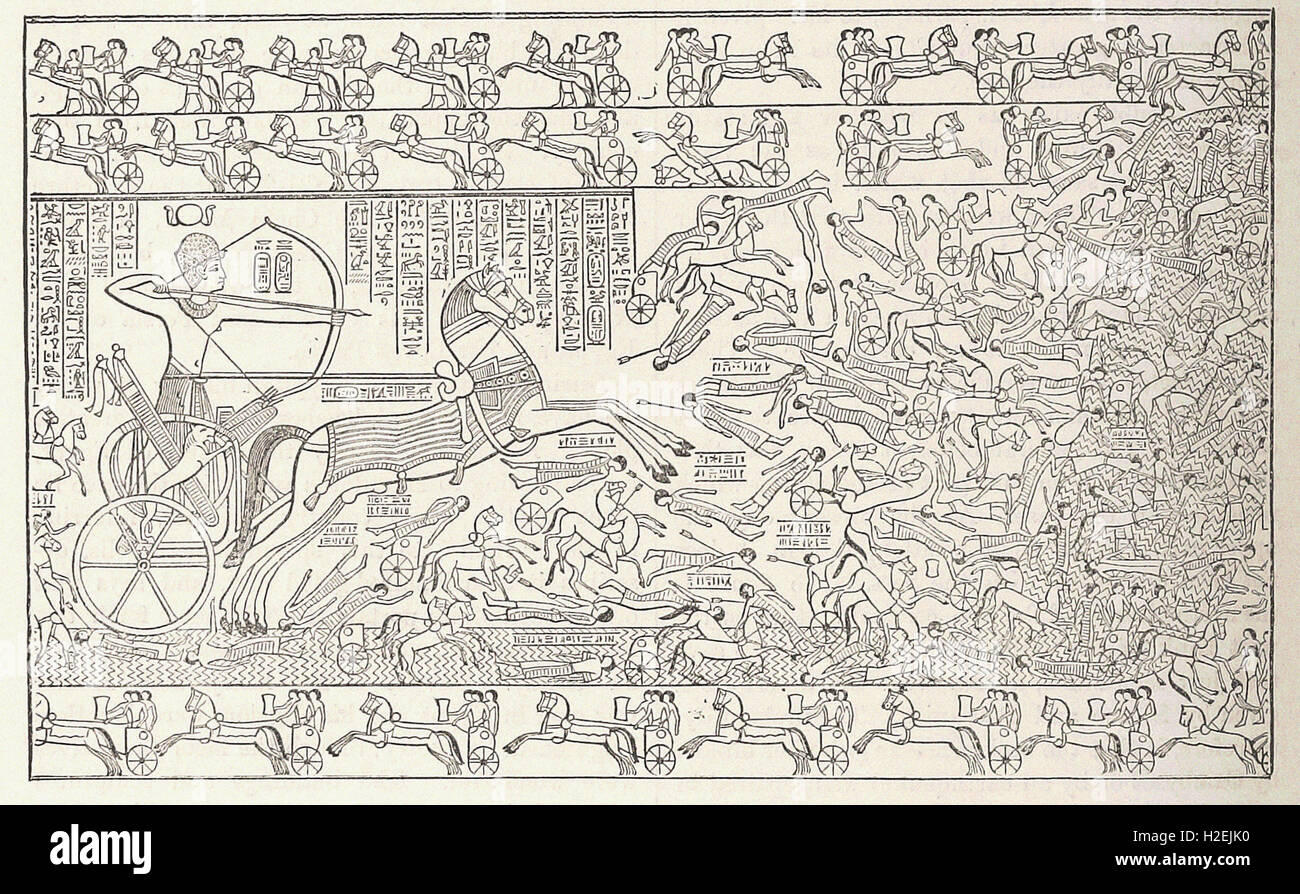 A BATTLE-SCENE FROM THE RAMESEUM AT THEBES - from 'Cassell's Illustrated Universal History' - 1882 - Stock Image