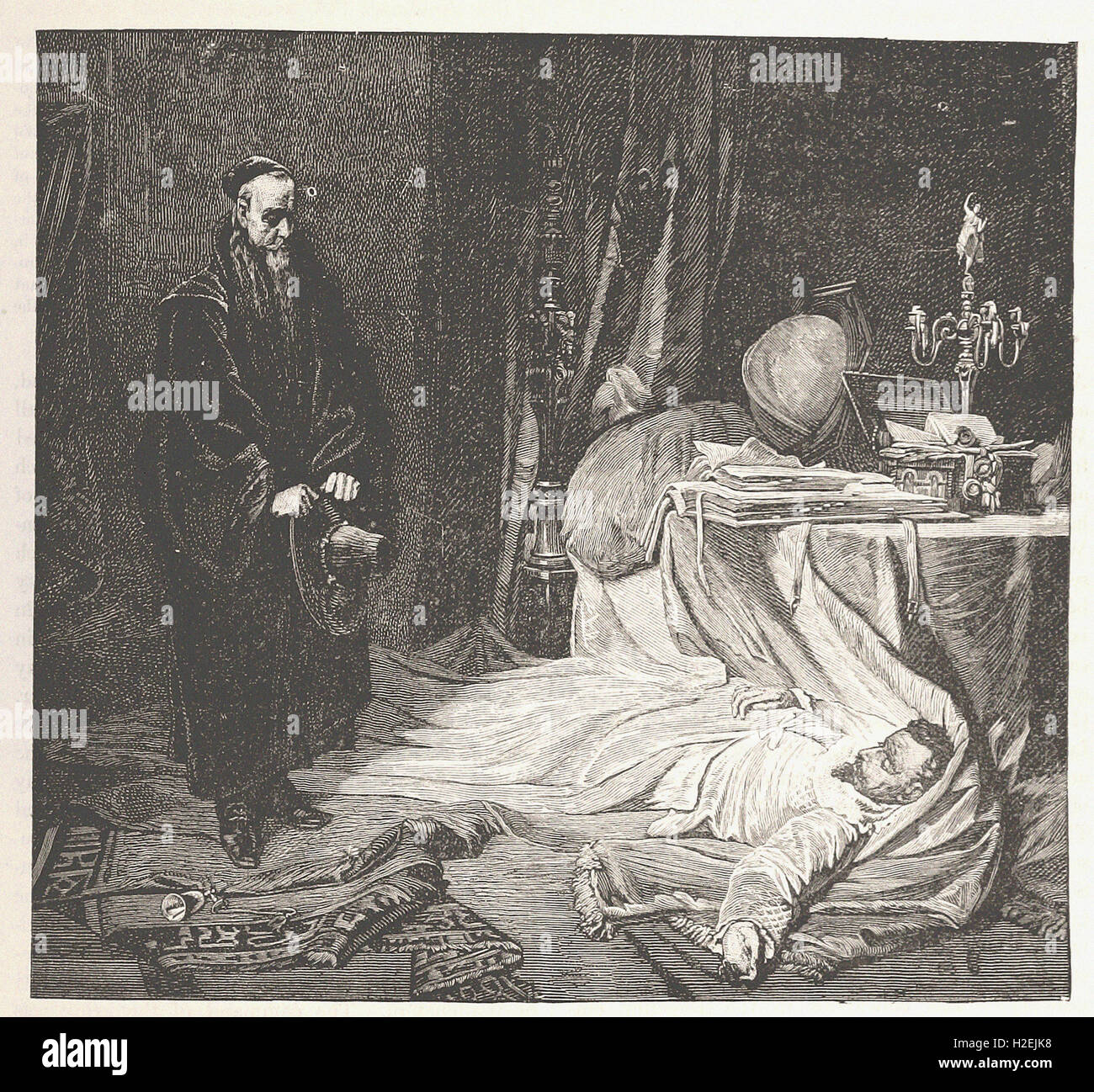 THE DEATH OF WALLENSTEIN - from 'Cassell's Illustrated Universal History' - 1882 - Stock Image