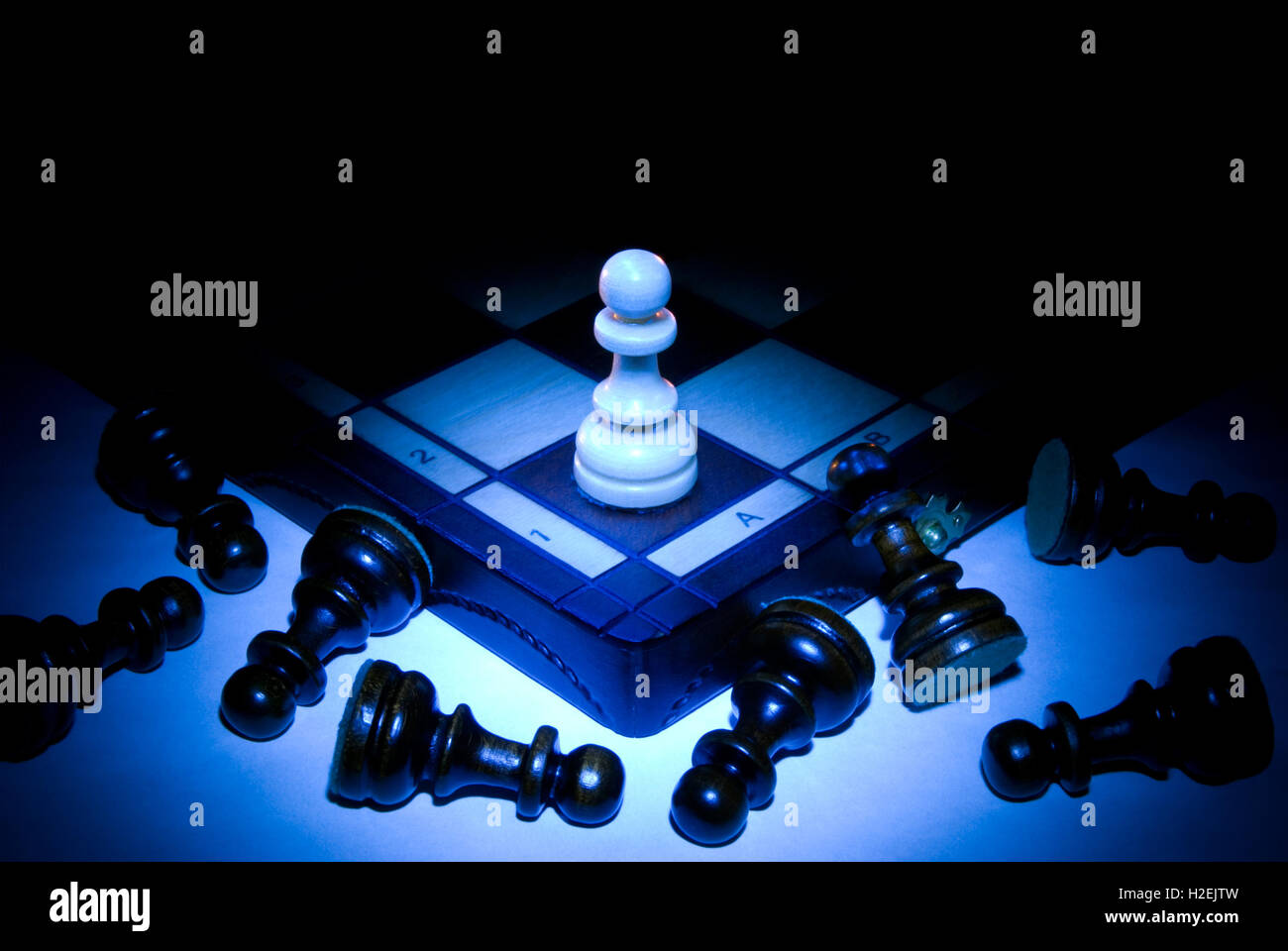 Chess board and pawns  A dark blue art background  Black