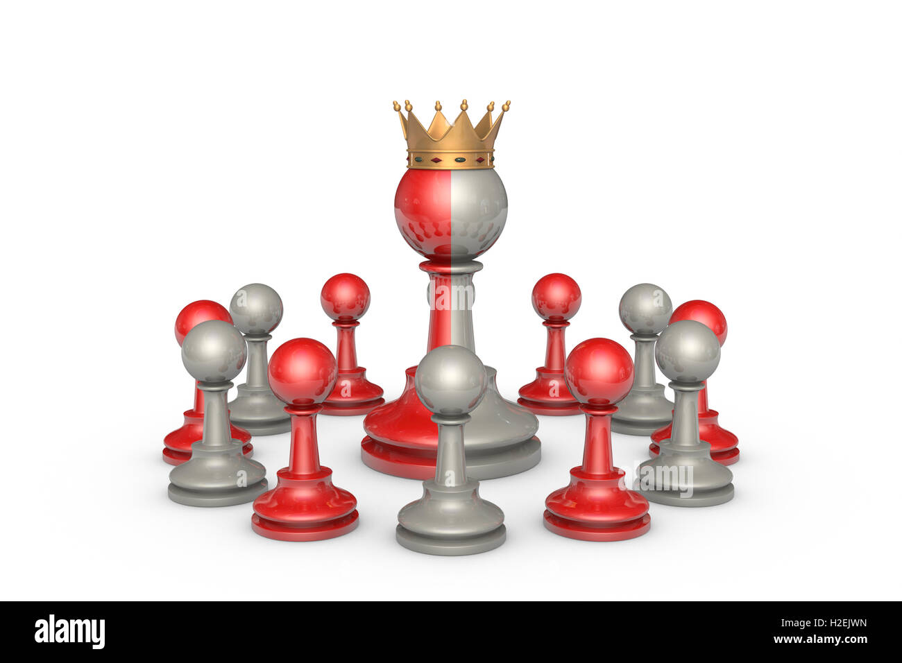 Chess Theater on a white background isolation. In the center of a two-faced king. Stock Photo