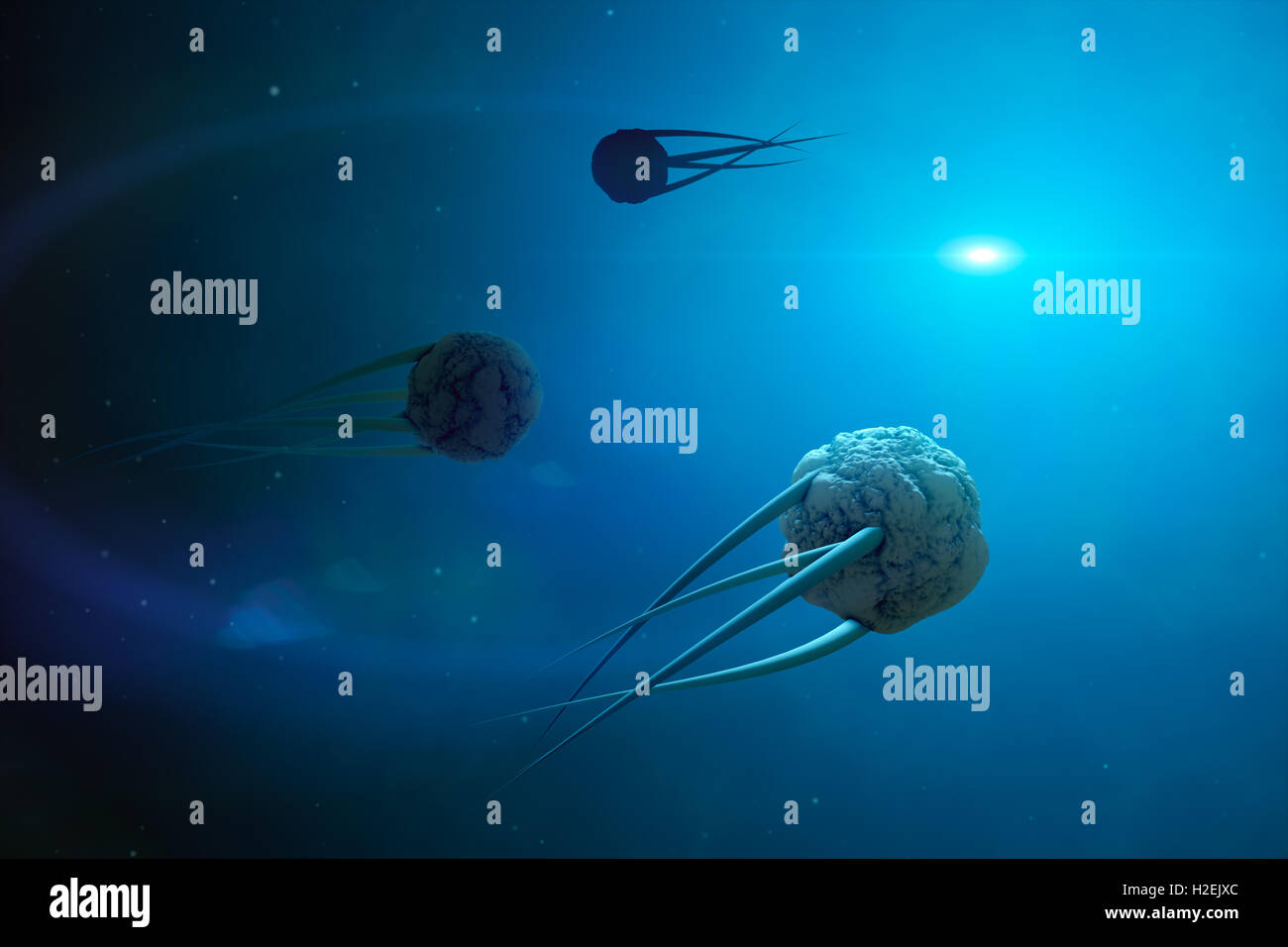 Virus movement in space. This image was created in Photoshop and 3d editor. - Stock Image
