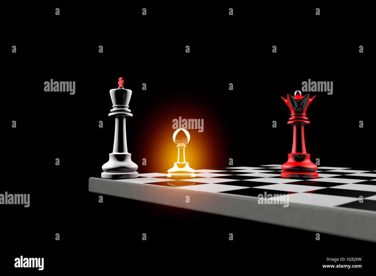 Pawn defends the King. It is a metaphor (political balance). - Stock Image