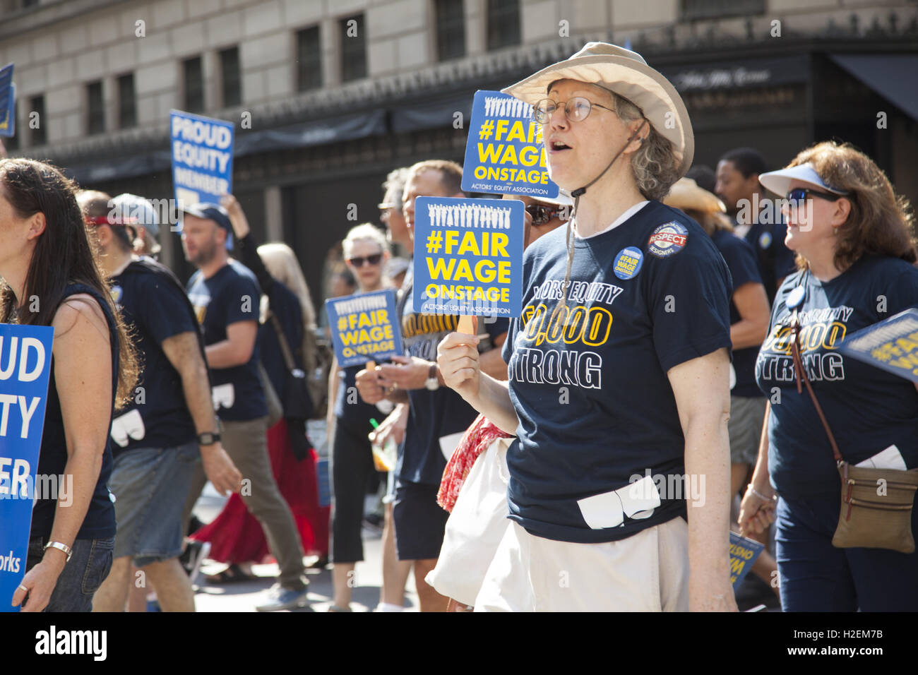 Actors Equity Association members march in the Labor Day Parade up 5th Avenue in New York City. - Stock Image