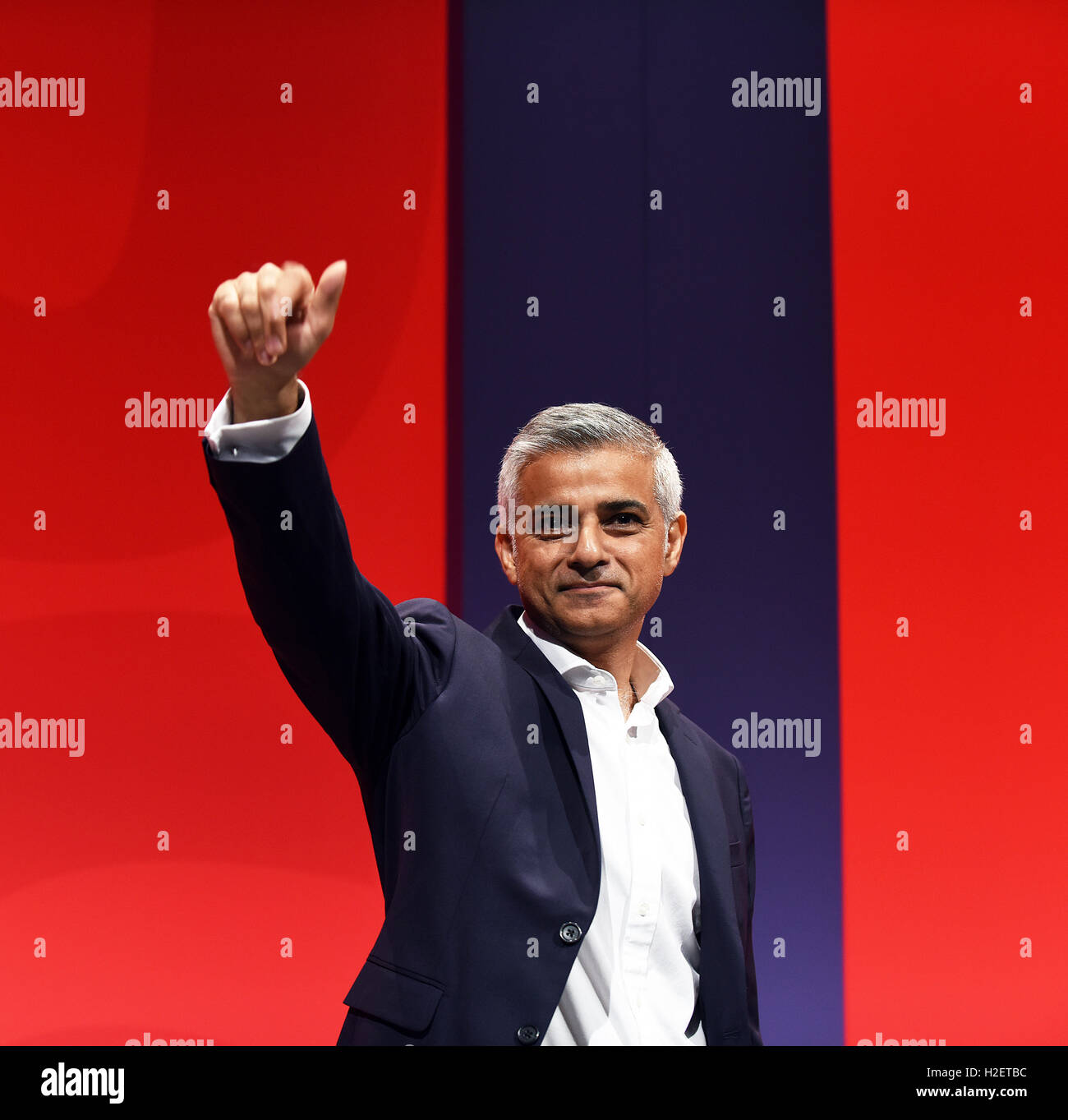 Liverpool, UK. 27th September, 2016. Sadiq Khan Mayor of London addresses the Labour Party Delegation at their conference - Stock Image