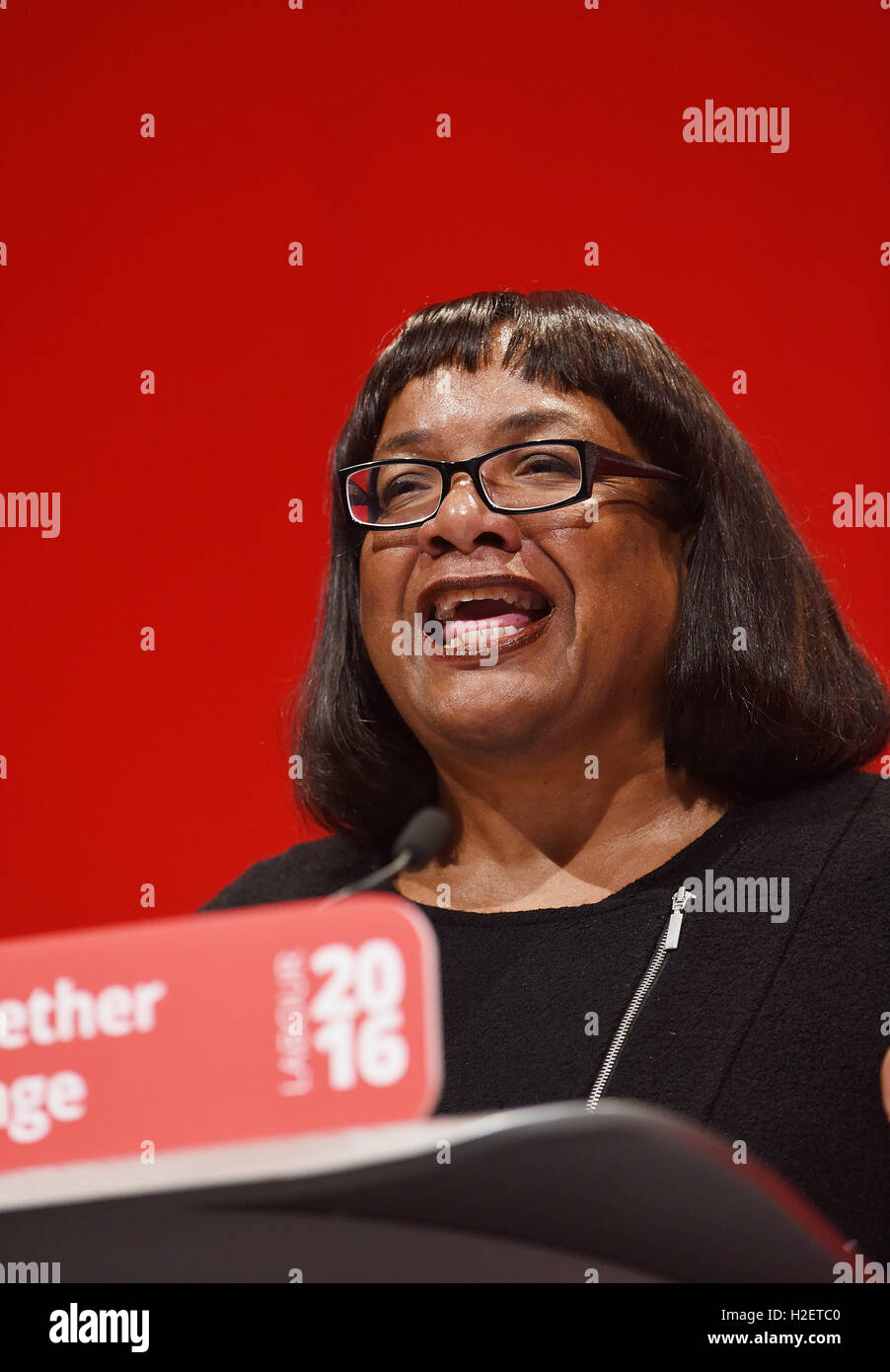Liverpool, UK. 27th September, 2016. Labour Party Conference in Liverpool. Diane Abbott Shadow Secretary of State Stock Photo