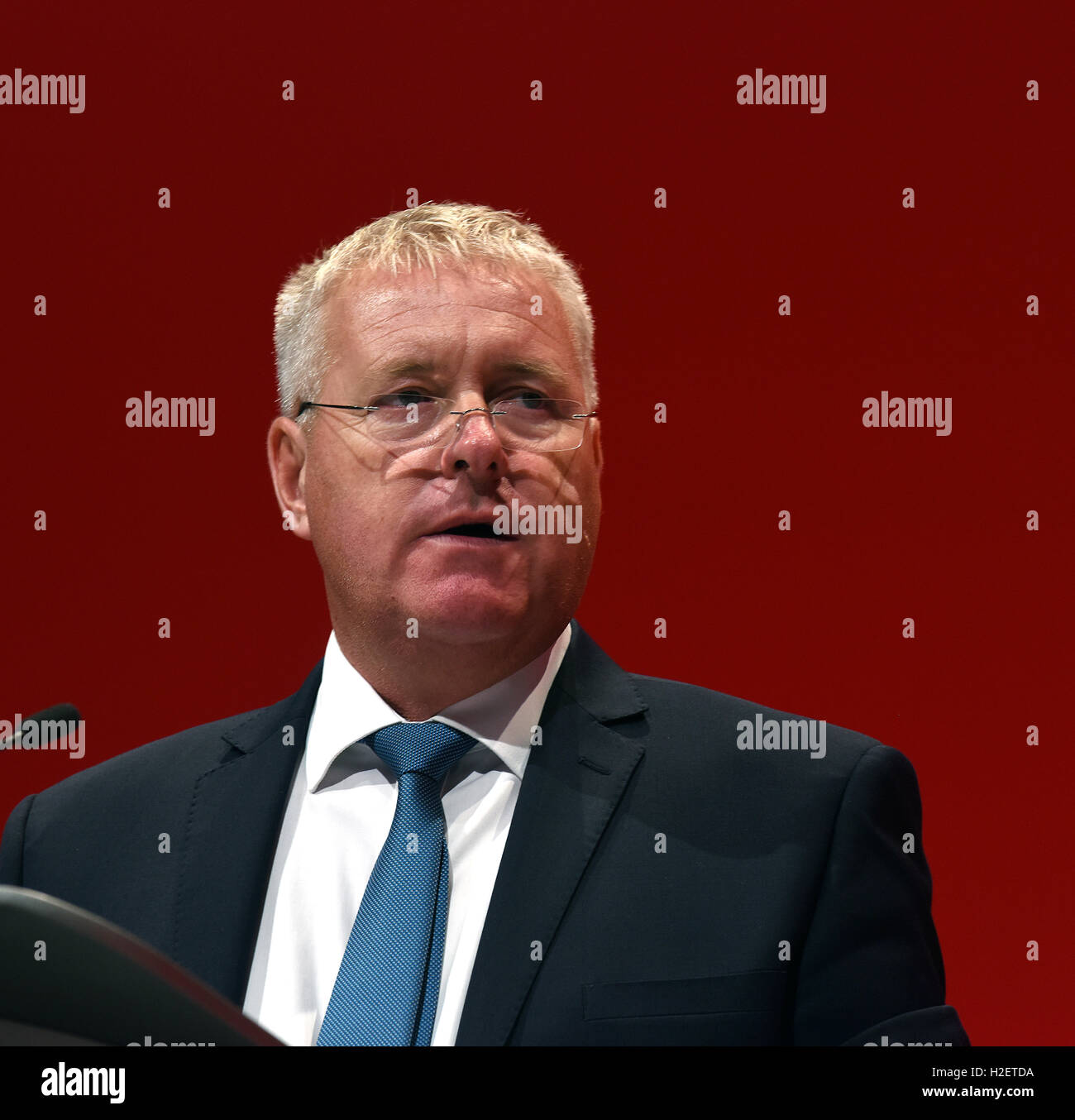 Ian Lavery MP Shadow Minister for Trade Unions and Civil Society Speaking at the Labour Confernce Liverpool 2016 - Stock Image
