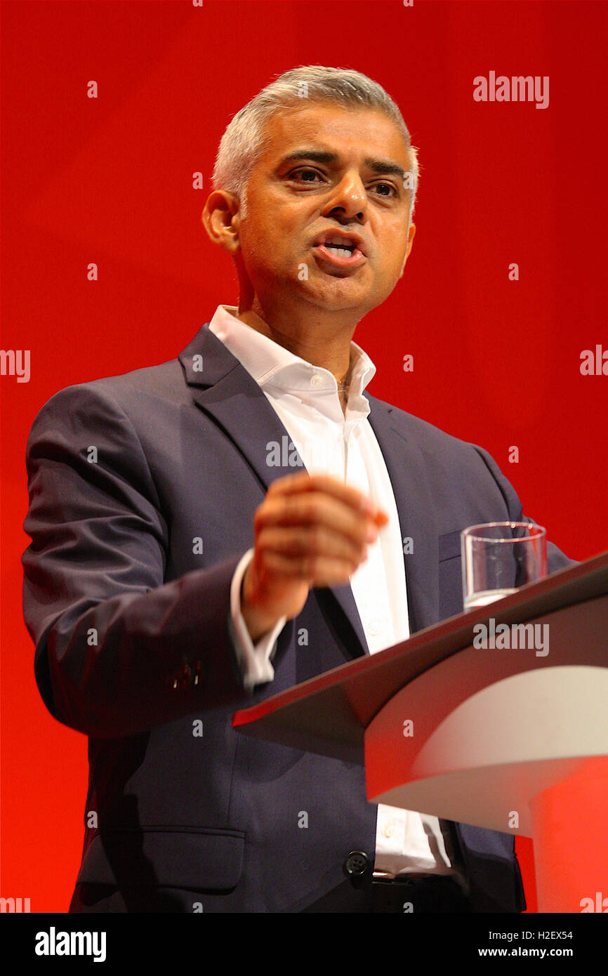 Liverpool, UK. 27th September, 2016. Sadiq Khan addresses the Labour Party Conference in Liverpool. Credit:  Rupert - Stock Image
