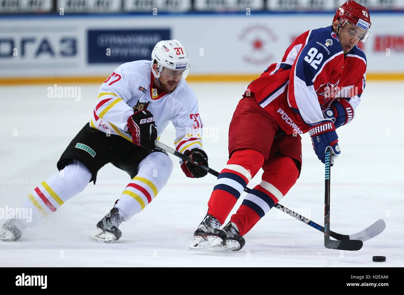 Moscow, Russia. 27th Sep, 2016. Kunlun Red Star Beijing's Igor Velichkin (L) and CSKA Moscow's Igor Ozhiganov - Stock Image