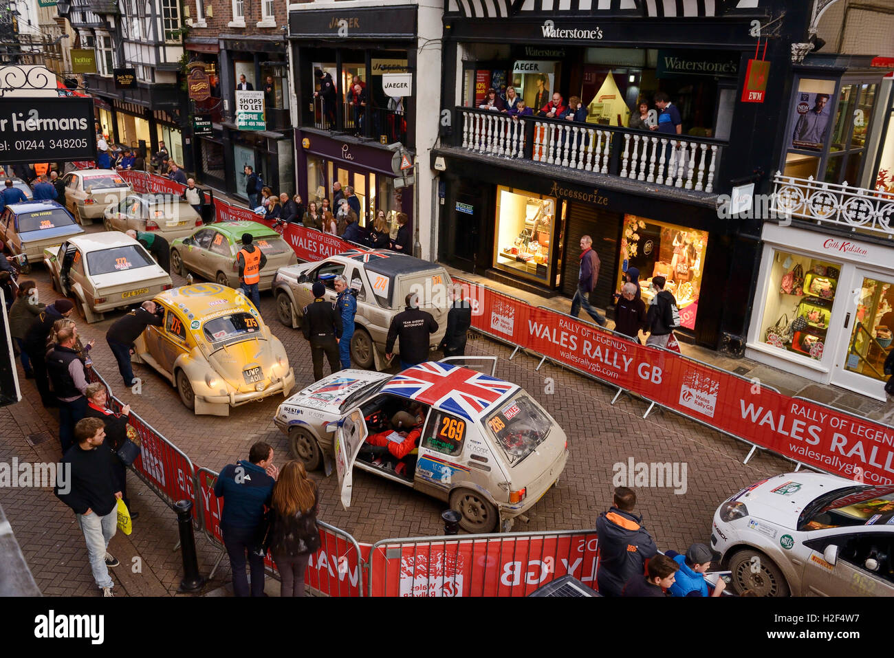 Chester, UK. 28th October, 2016. Wales Rally GB. At the end of day one, cars competing in the WRGB National Rally - Stock Image