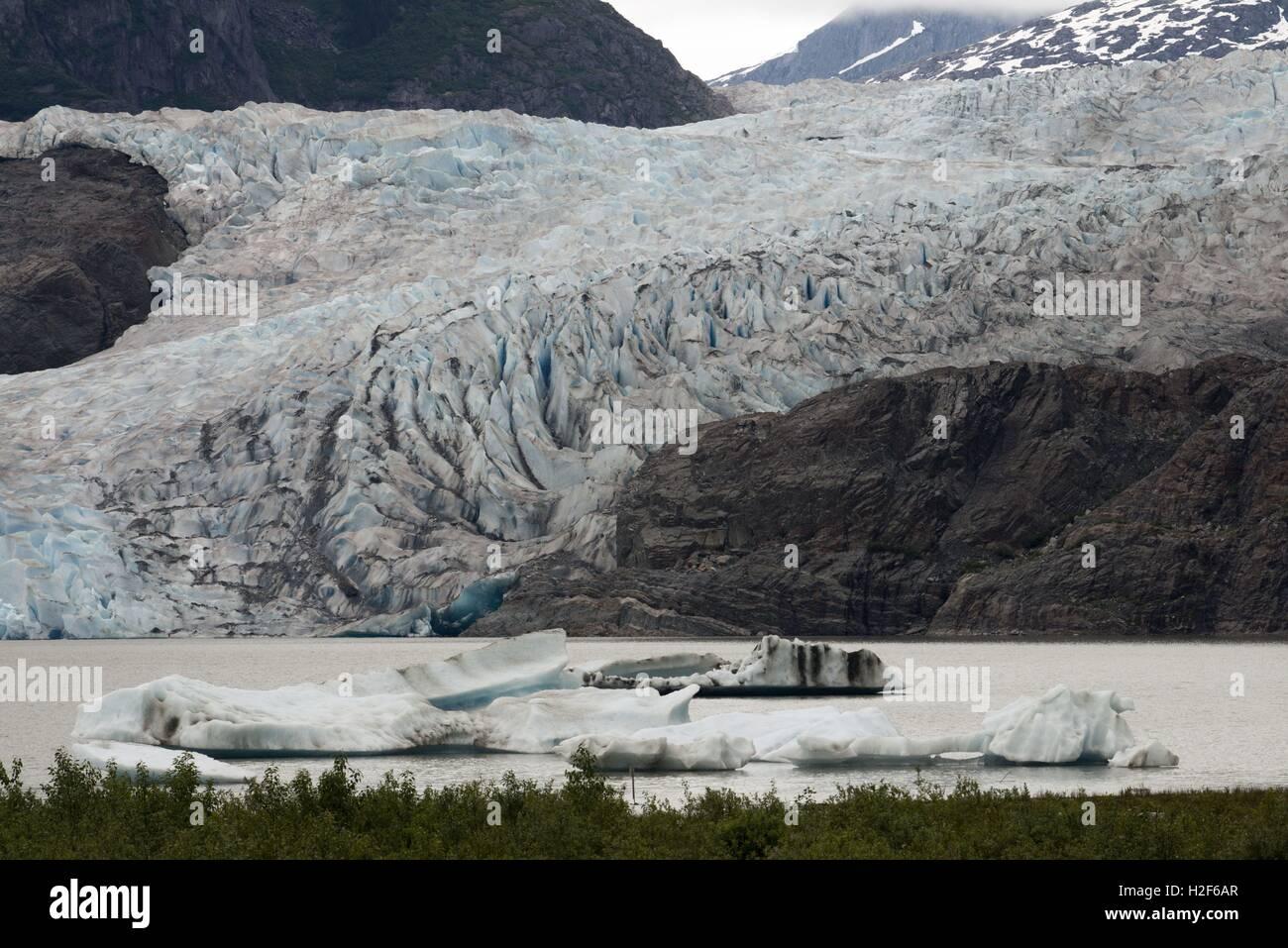 Mendenhall Glacier Juneau USA Alaska. Scenic view overlooking Mendenhall Glacier and Mendenhall Lake from West Glacier - Stock Image