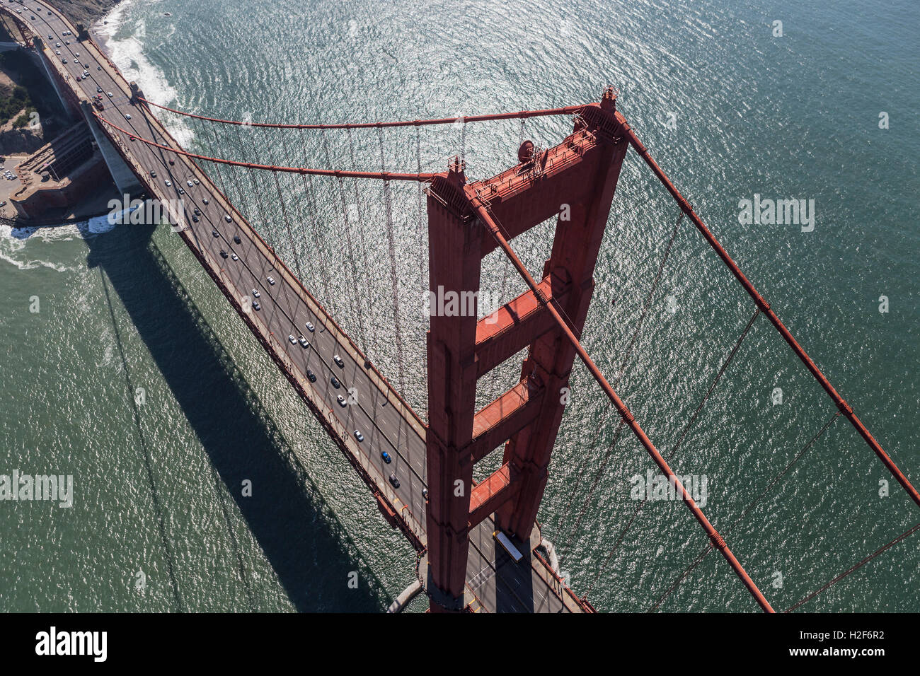 Aerial view of the Golden Gate bridge near San Francisco, California. - Stock Image