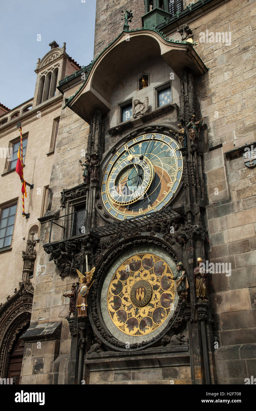 Astronomical clock in Old Town Square, Prague, Czech Republic - Stock Image