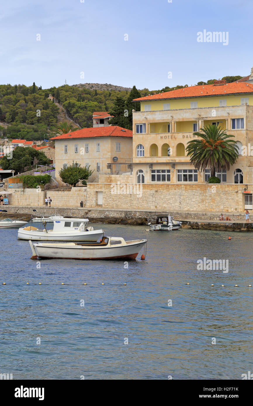 Hotel Dalmatia, Hvar Town, Croatia, Dalmatia, Dalmatian Coast, Europe. - Stock Image