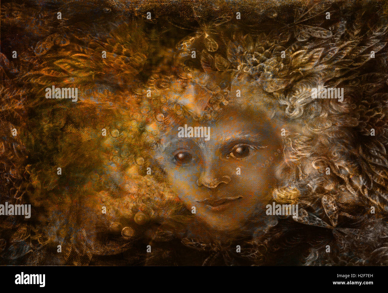 fairy being with crown of feathers, iluustration in brown sepia tones - Stock Image