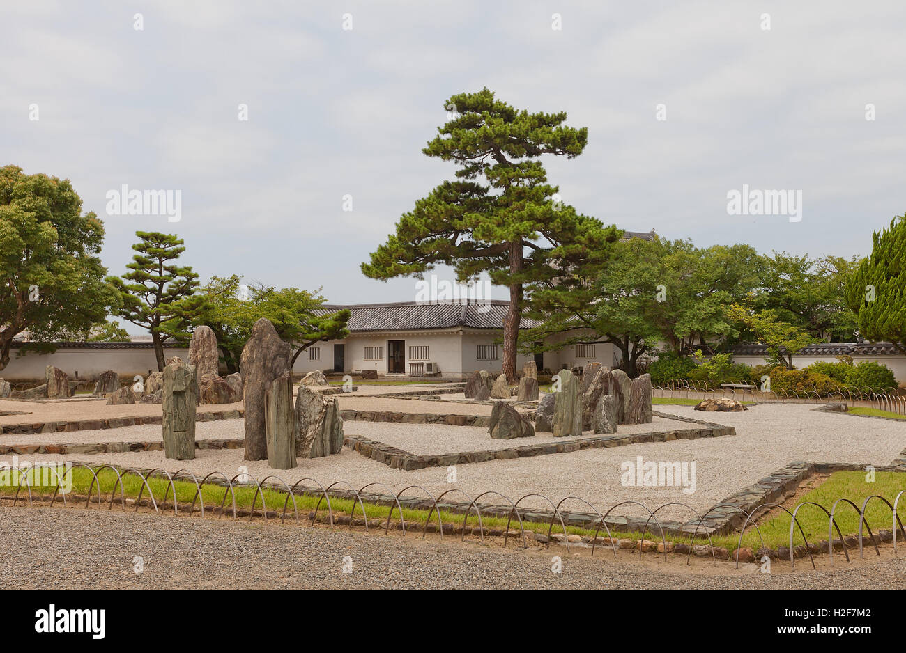 Rock garden (Hachijin-no-Niwa) of Kishiwada castle, Japan. Designed and constructed by Mirei Shigemori - Stock Image