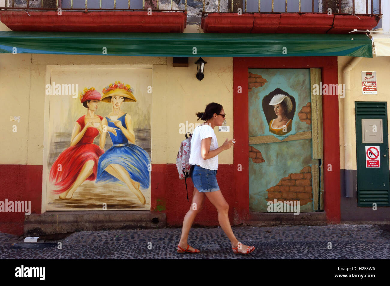 Painted doorways In Funchal Madeira - Stock Image