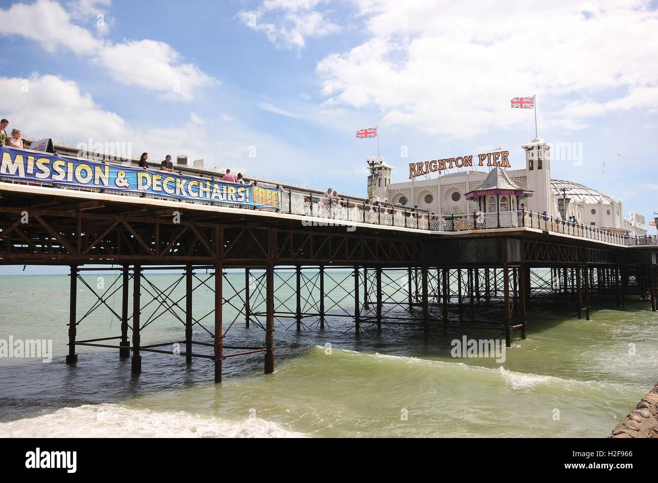 The Famous Brighton Pier shot from below on a beautiful sunny day, England, photoarkive - Stock Image