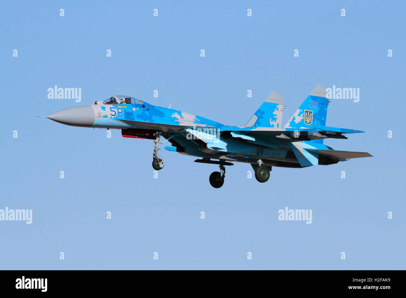 Sukhoi Su-27 Flanker fighter jet aeroplane of the Ukraine Air Force. Military aviation. - Stock Image
