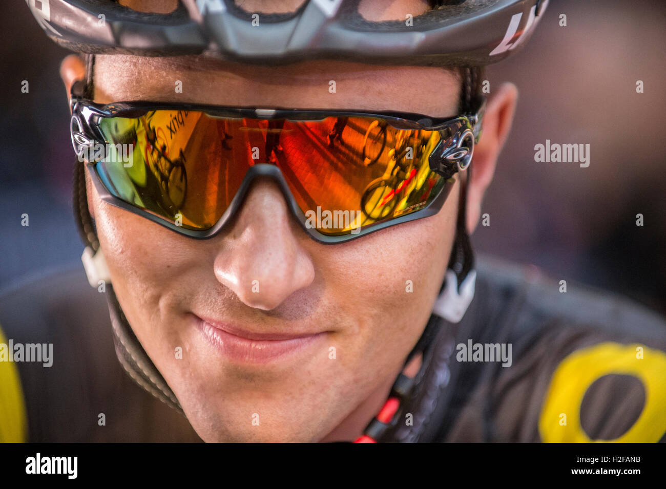 Canadian professional road racing cyclist, Ryan Anderson wearing cycling sunglasses. - Stock Image