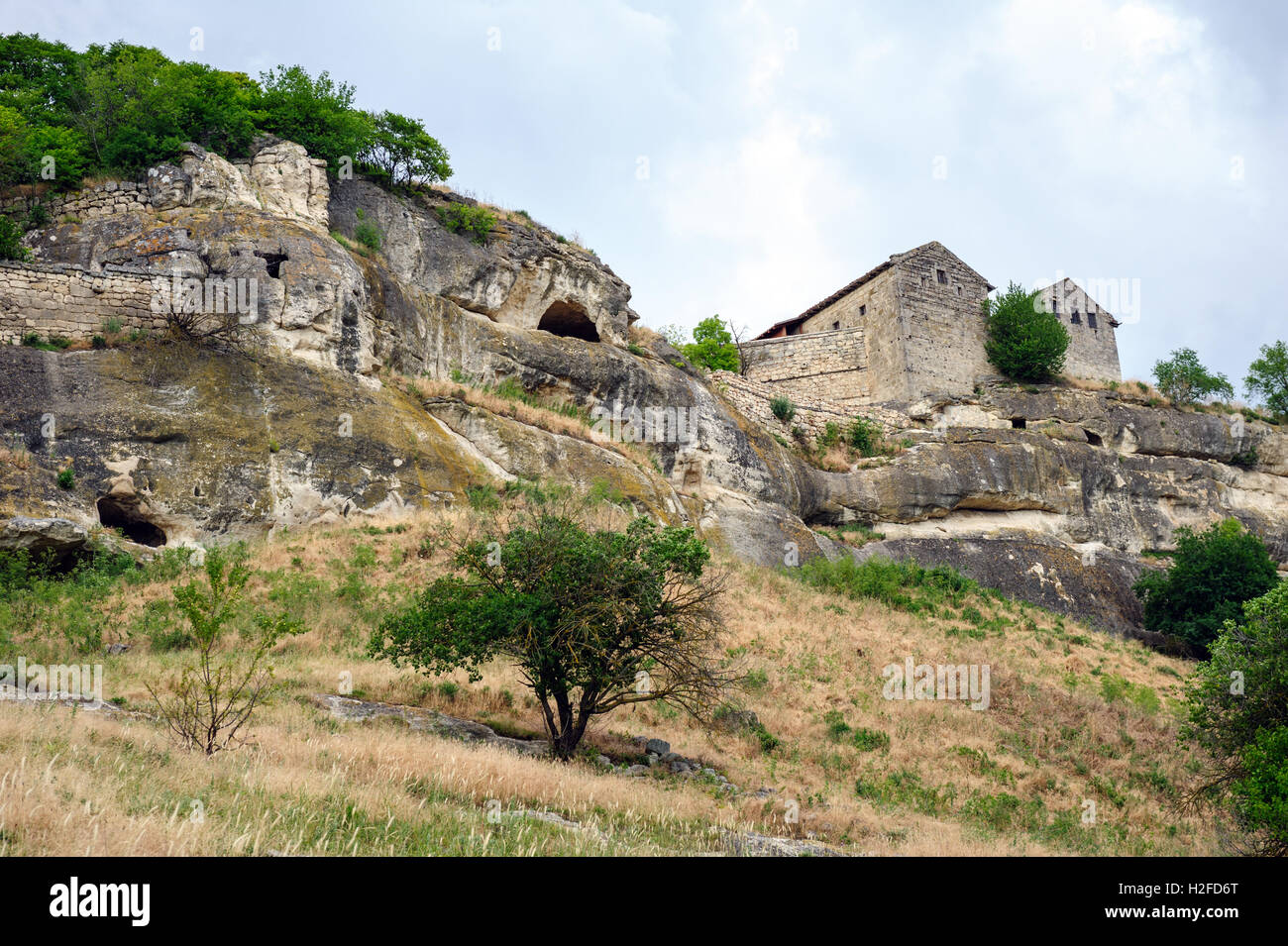 Chufut-Kale, medieval mountain city - Stock Image