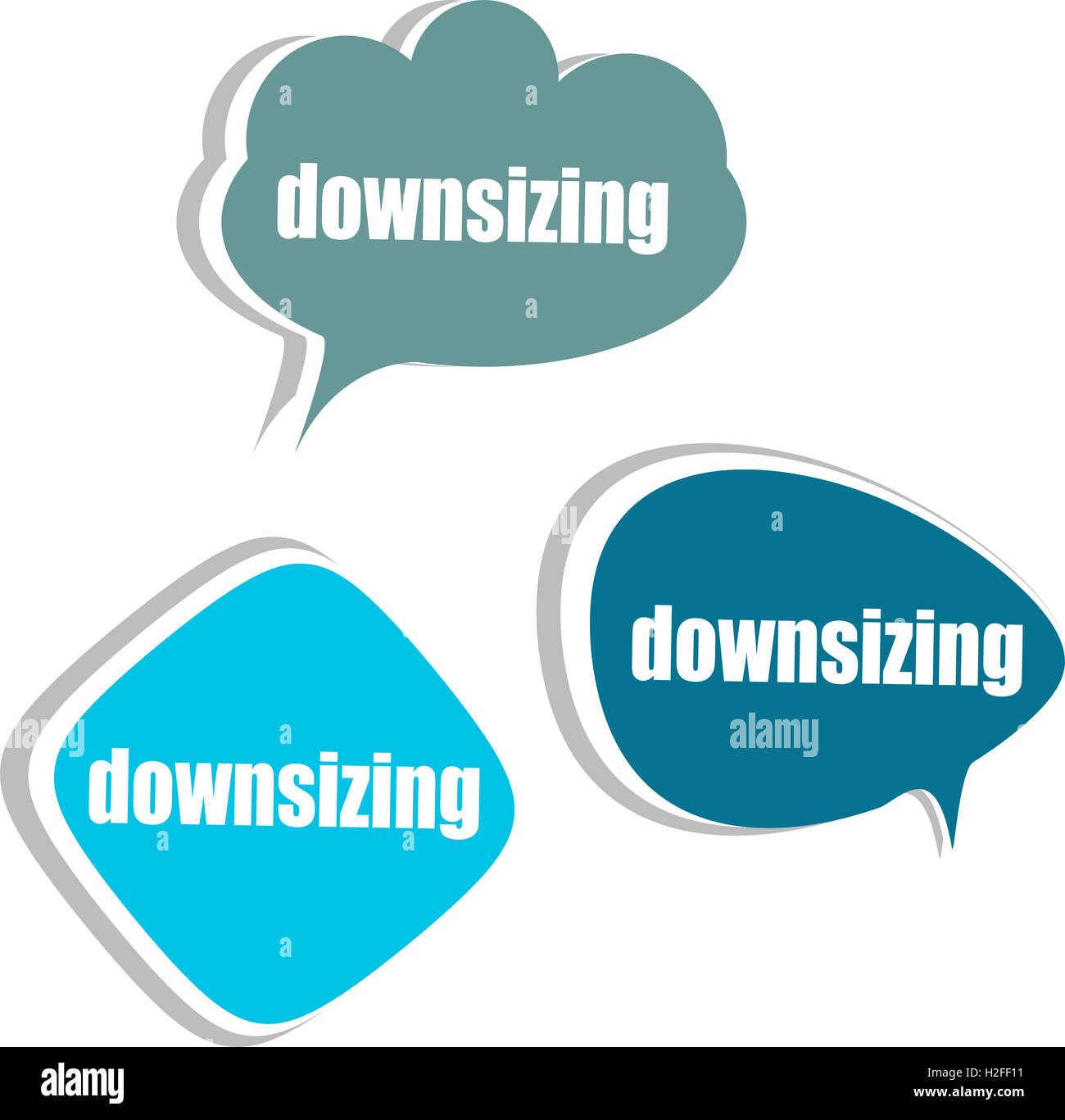 downsizing. Set of stickers, labels, tags. Business banners, infographics - Stock Image